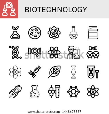 Set of biotechnology icons such as Bioengineering, Science, Petri dish, Nanotechnology, Chemistry, Formula, Genetics, Dna, Atom, Chemist, Cloning, Experimentation , biotechnology