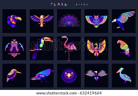 set of bird icons abstract