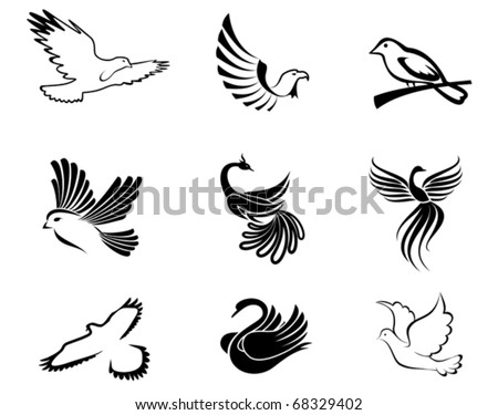 Set of bird symbols as a concept of peace - also as emblem. Jpeg version also available
