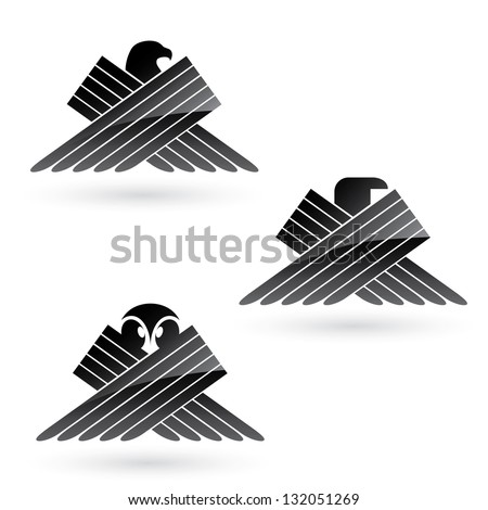set of bird symbols   vector
