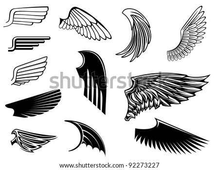 Set of bird wings for heraldry design, such a logo. Jpeg version also available in gallery