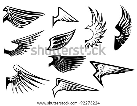 Set of bird wings for heraldry or emblem design. Jpeg version also available in gallery