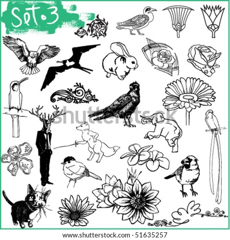 Set of birds and flowers