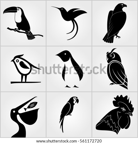 set of birds icons penguin