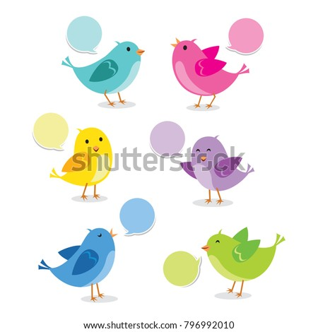 Set of birds in different pose. Vector illustration.