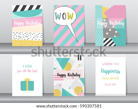 Birthday card design download free vector art stock graphics images set of birthday card on retro pattern designvintagepostertemplategreeting bookmarktalkfo Choice Image