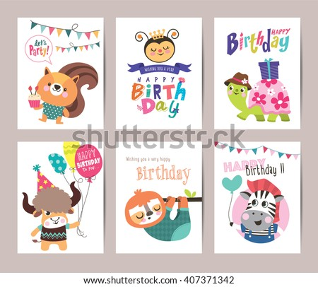 Birthday card design download free vector art stock graphics images set of birthday card with cute animals bookmarktalkfo Choice Image