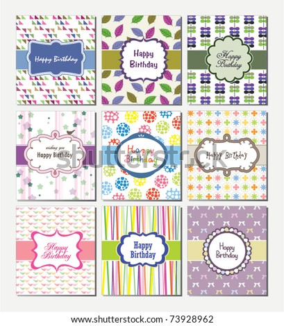 Set Of Birthday Cards Design Stock Vector 73928962 : Sh