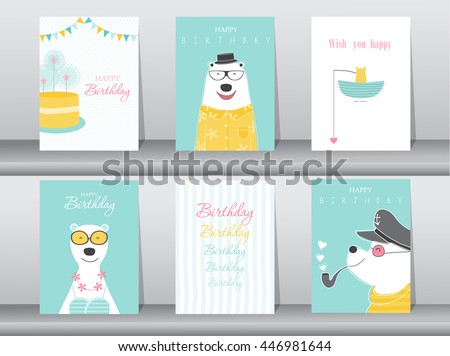 set of birthday cards poster