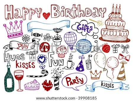 Set of Birthday doodles Vector illustration.