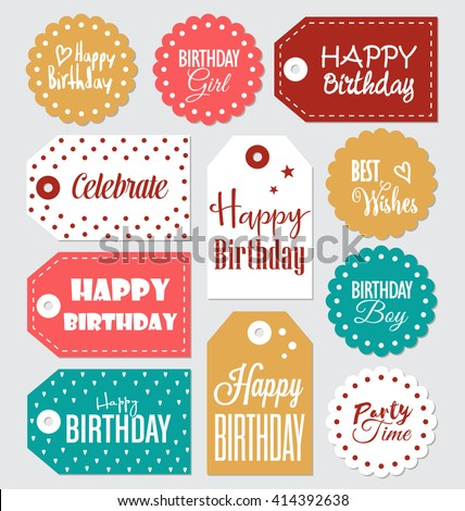 photo about Printable Birthday Gift Tags titled Vector Visuals, Examples and Cliparts: Mounted of Birthday