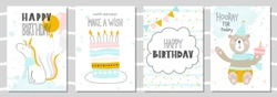 Set of Birthday greeting cards and party invitation templates with cute unicorn, bear and cake. Vector illustration