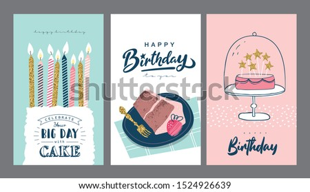 Set of birthday greeting cards design Photo stock ©