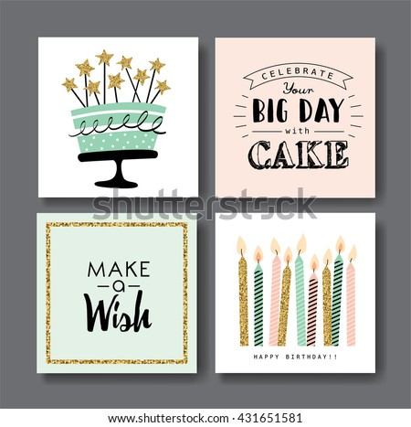 Vector Images Illustrations And Cliparts Set Of Birthday Greeting