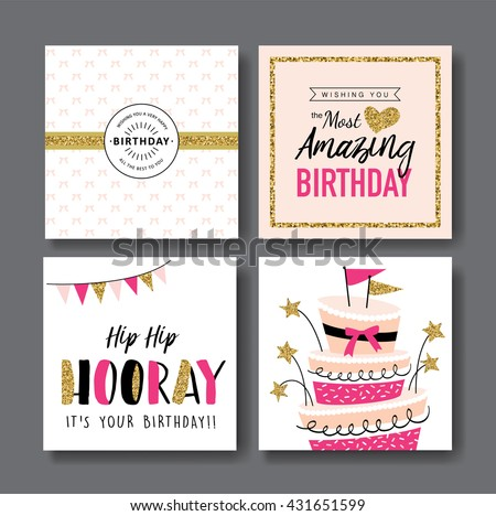Happy Birthday Greeting Cards Design Download Free Vector Art