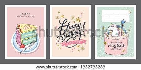 Set of birthday greeting cards with beautiful and lovely cakes Photo stock ©