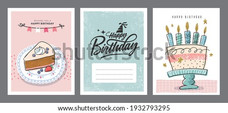Set of birthday greeting cards with beautiful and lovely cakes