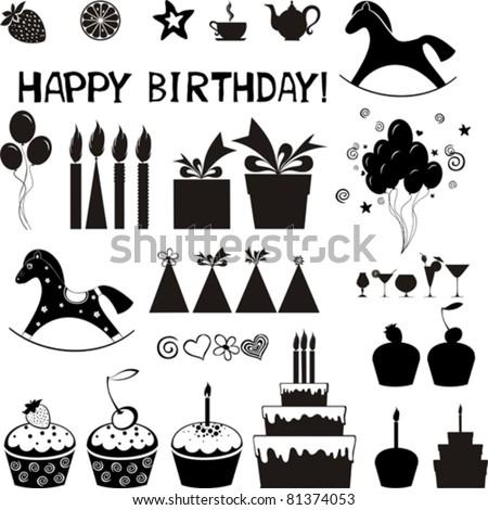 Set of Birthday icons. Isolated on white background. Vector illustration