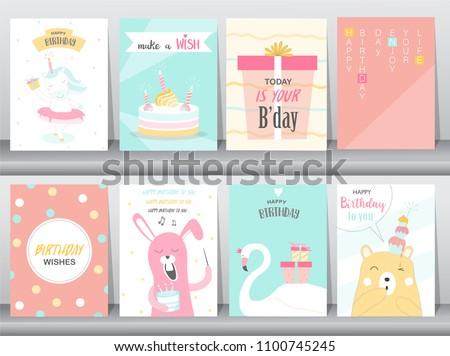 Set of birthday invitations cards, poster, greeting, template, animals,unicorn,rabbit,cake,stork,goose,Vector illustrations