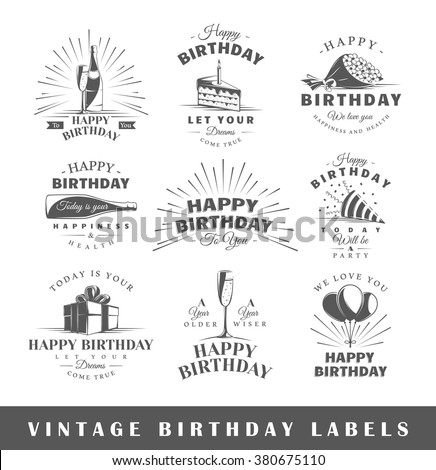 set of birthday labels