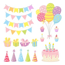 Set of birthday party design elements. Cute collection of balloons, flags, cupcakes, cake, gift boxes, garlands and hats in pastel colors. Vector illustration in cartoon style isolated on a white
