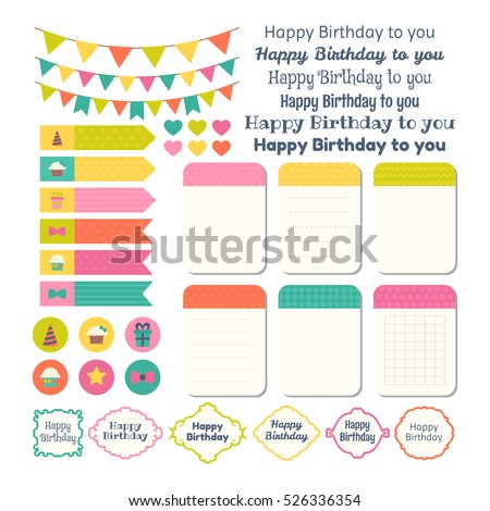 Set of Birthday party design elements. Template for notebooks. Monthly planner. Notes, stickers, labels. Vector illustration