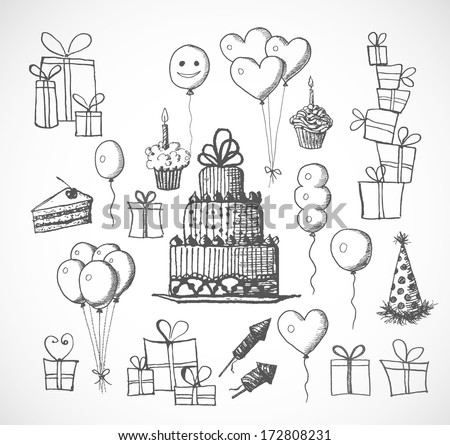 Set Of Birthday Sketch Objects Isolated On White Cakes