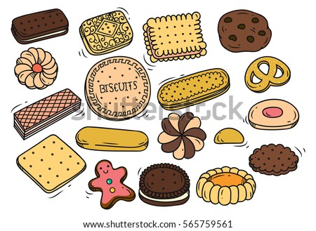 Shutterstock Set of biscuit doodle isolated on white background