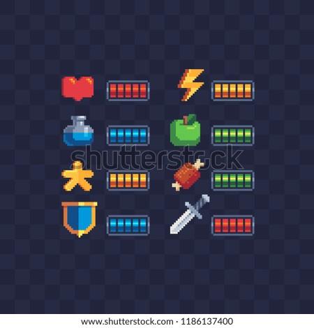 Set of 8-bit elements, life bar, progressor, stamina, power, energy, mana level, money reserve vector illustrations. Retro, 8-bit style, pixel elements for game themed designs. Arcade icons.