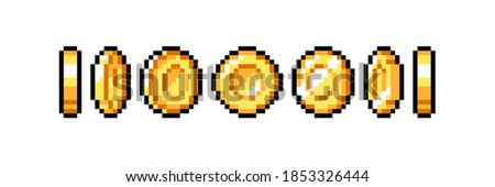 Set of 8-bit pixel graphics icons. Isolated vector illustration. Game art. Coins of gold for animation