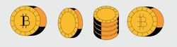 Set of bitcoin icons in flat cartoon style.