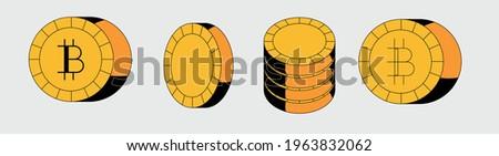 Set of bitcoin icons in flat cartoon style. Сток-фото ©
