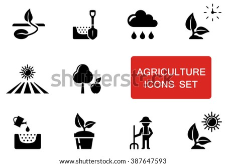 set of black agriculture icons