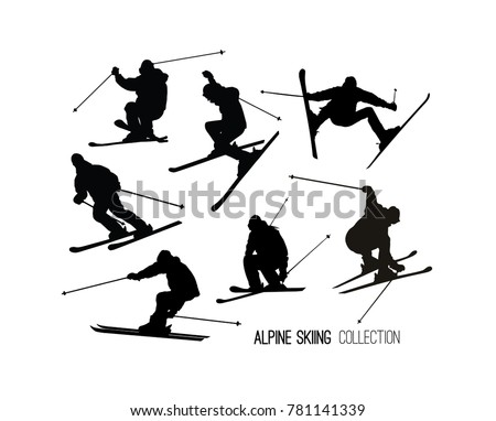 skier jump download free vector art stock graphics images Cool Snowmobiles set of black alpine skier s silhouettes isolated on white background art vector illustration