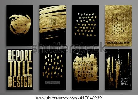set of black and gold design...