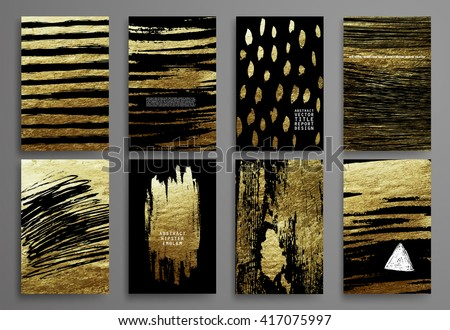 Set of Black and Gold Design Templates for Brochures, Flyers, Mobile Technologies, Applications, and Online Services, Typographic Emblems, Logo, Banners and Infographic. Abstract Modern Backgrounds.