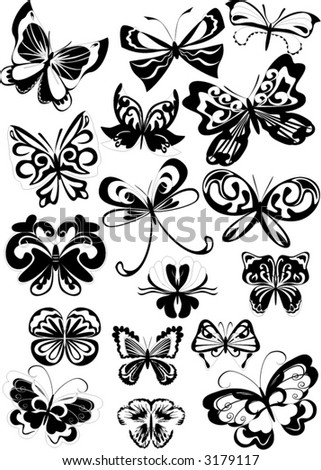 Black And White Butterfly Clipart. stock vector : set of lack