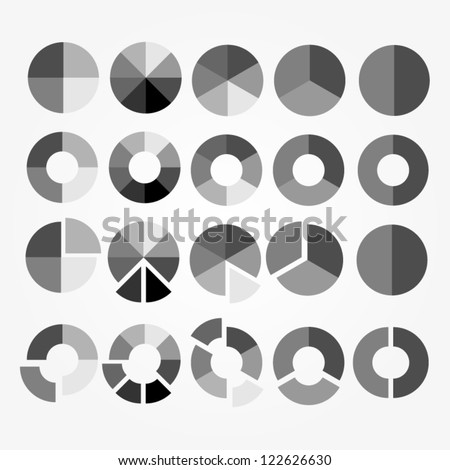 Set of black and white circle diagram for your design. Business chart elements. Vector illustration