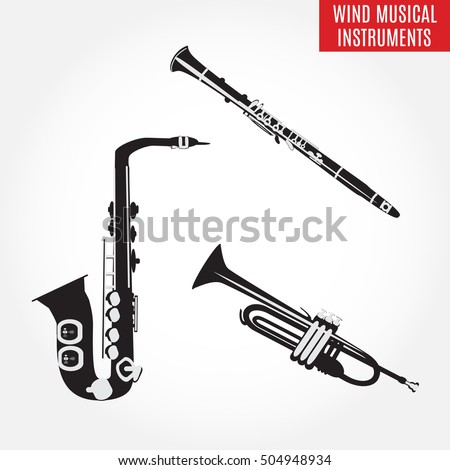 Set of black and white classical wind musical instruments. Vector illustration of saxophone, clarinet and trumpet isolated on white background. Woodwind and brass musical instruments.