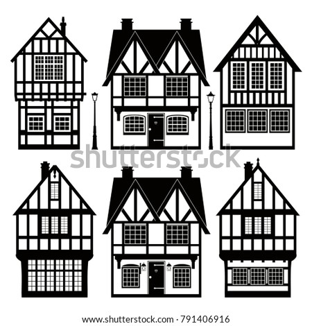 set of black and white cottages