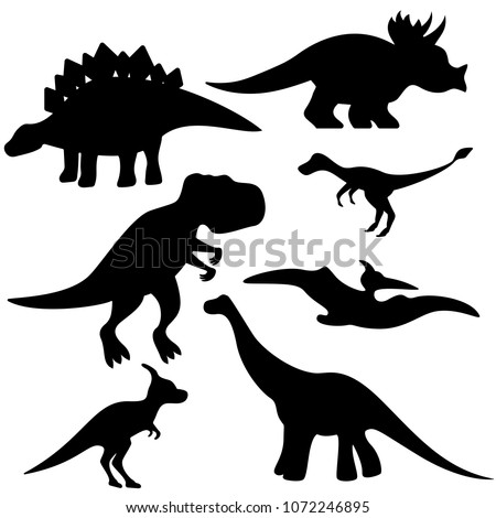 Set of black and white dinosaurs on white background