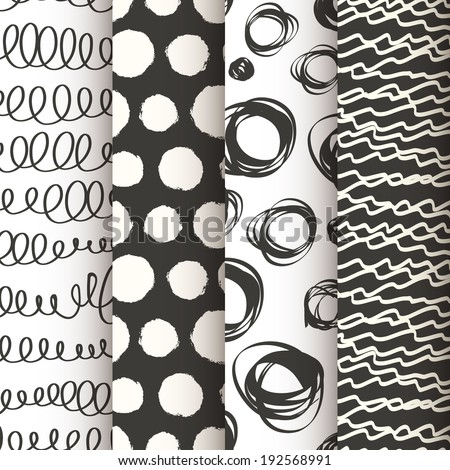 Set of 4 black and white doodle seamless patterns. Vector illustration