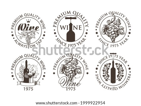 Set of black and white emblems, labels, badges, round-shaped stickers for a wine store or winery. Vector wine logos with hand-drawn bunches of grapes and bottles with corkscrews in retro style