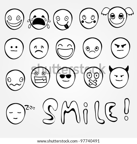 Set of black and white emoticons