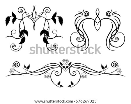 set of black and white floral