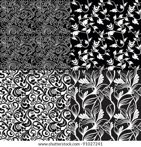set of black and white floral seamless patterns - vector illustration