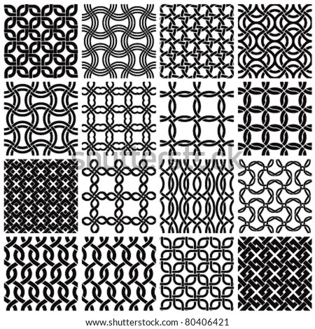 Set of black and white geometric seamless patterns. Vector backgrounds collection.