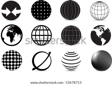 stock vector : set of black and white globe icons and symbols