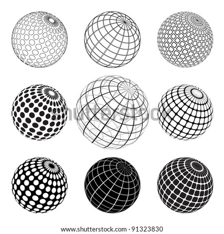 set of black and white globes