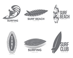 Set of black and white graphic surfing logo templates with surfer and surfboard, vector illustration isolated on white background. Graphic surfing board logotype, logo design